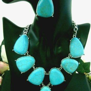 Fashion Jewelry Faux Turquoise Necklace & Earrings